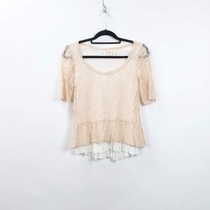 Anthro Deletta Blush Pink Lace Overlay Top Blouse